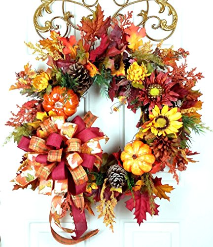 Handmade Fall Pumpkin Sunflower Door Wreath - Autumn Sunflower Pumpkin Wreath, Harvest Sunflower Pinecone Wreath - Fall Grapevine
