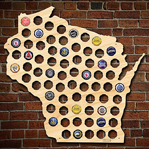 Wisconsin Beer Cap Map Can be Personalized! Made of Beautiful Birch Wood! WI Beer Cap Holder, Craft Beer Gifts for Men, Packers - Men Wi