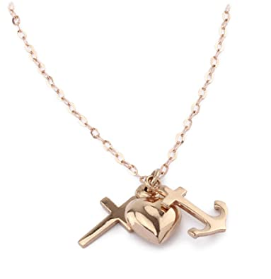 Delicate 925 silver faith hope love pendant with chain in rose gold delicate 925 silver faith hope love pendant with chain in rose gold aloadofball Image collections