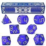 Set of 8 Premium Masterwork Precision Aluminum Polyhedral Wiz Dice (Cobalt (blue))