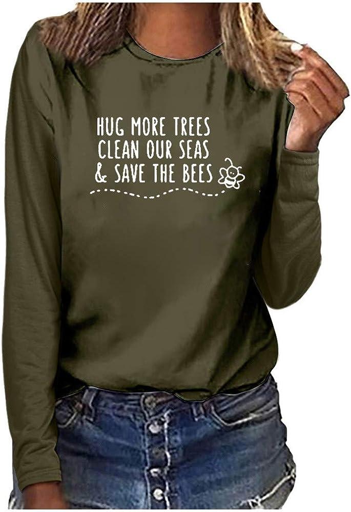 TEFIIR - Camiseta de Manga Larga con Cuello Redondo para Mujer, Corte Ajustado Verde Militar. Large: Amazon.es: Ropa y accesorios