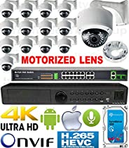 USG 4MP 14 Camera H.265 HD PoE IP CCTV Kit : 1x 24 Channel Ultra 4K NVR + 14x DOME Cameras + 1x PoE Switch + 1x 4TB HDD : 2.8-12mm Motorized Auto-Focus Lens : IR LED : FREE Phone App : 3 YEAR WARRANTY