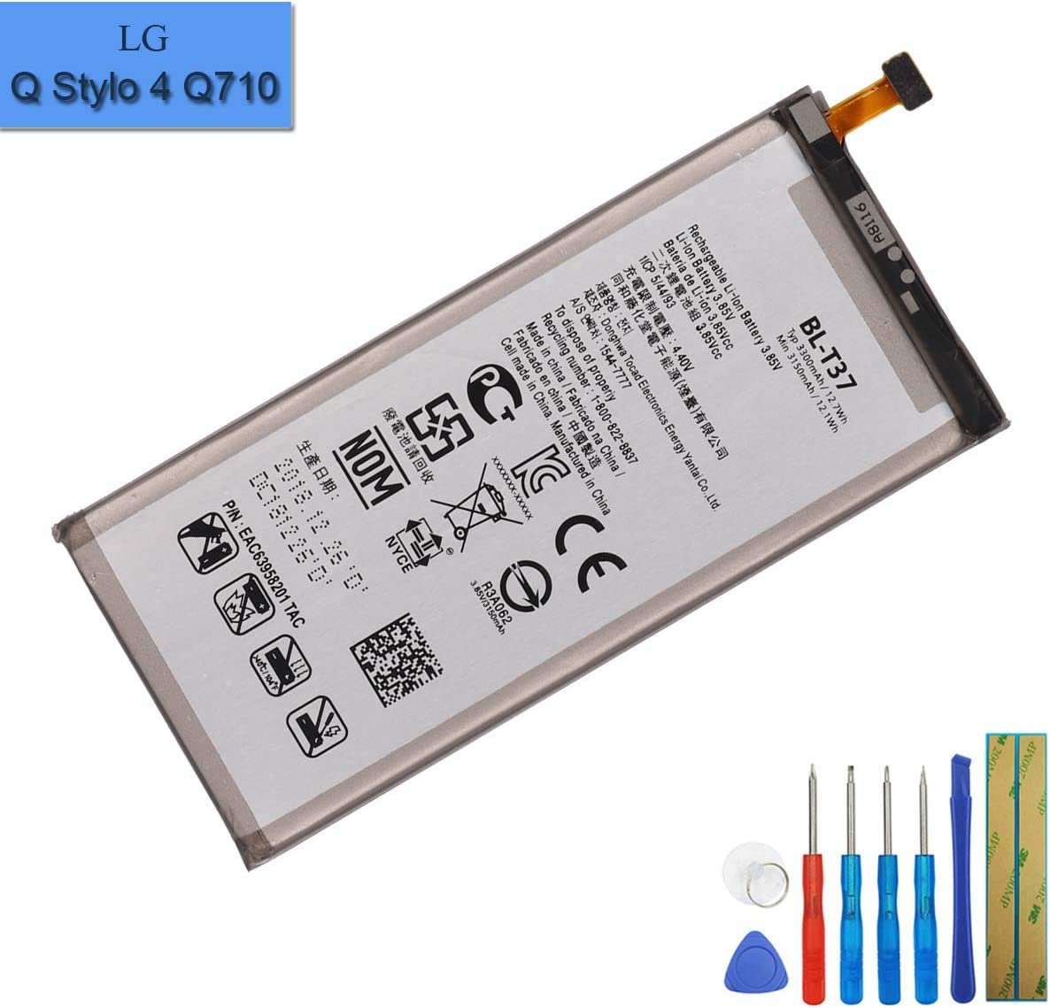 New Replacement Battery BL-T37 Compatible with LG Q Stylo 4 Q710 Q710MS Q710CS Q8 2018 EAC63958201 with Tools