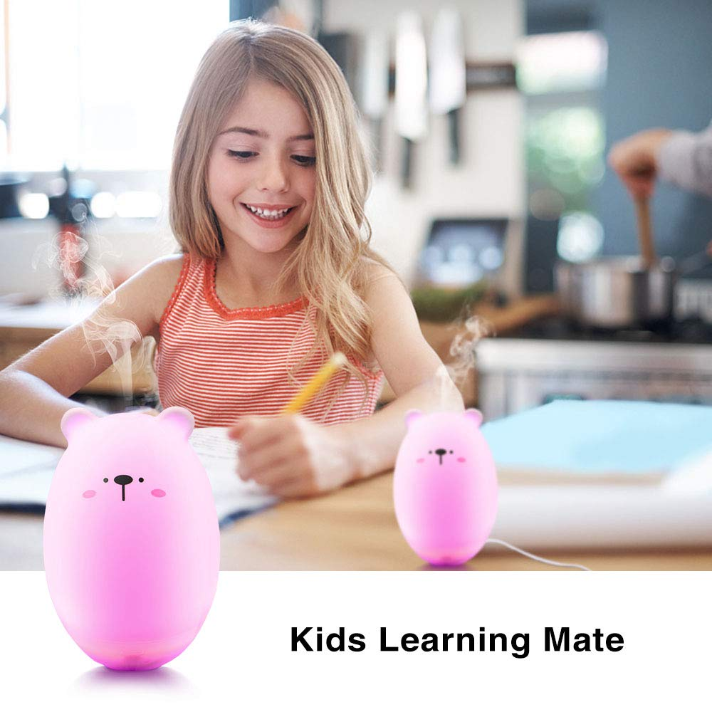 Qualife Baby Humidifier,Small Cool Mist Humidifier for Bedroom Kids,Cute Mini Essential Oils Diffuser for Desk Office Travel,Waterless Auto-Off,Best Gifts for Women Mom Girls.