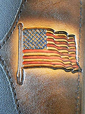 Hilltop Leather Company Mens Handcrafted Leather Trifold Wallet American Flag USA