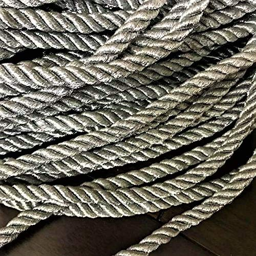 8mm Twisted Metallic Silver Cord Silver Rope Decoration Trim Braided Cord Shiny Cord Choker Thread Twine String/Price per 5 Yards