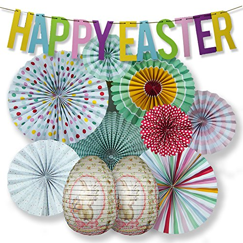 PaperLanternStore.com 11-pc Deluxe Easter Holiday Backdrop Decoration Combo Party Pack Includes Banner, Deluxe Hand Fans and 2X Easter Egg Lanterns by Quasimoon ()