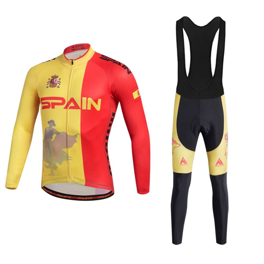 Uriah Men 's Cycling Jersey andブラックBibパンツ熱フリースセット長袖反射 B077RTW8GR Chest 36.2''=Tag S|Spain Style Spain Style Chest 36.2''=Tag S