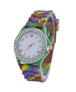 Loweryeah Womens Green Silicone Strap Rhinestone Bezel Quartz Analog Wristwatch 24.5CM