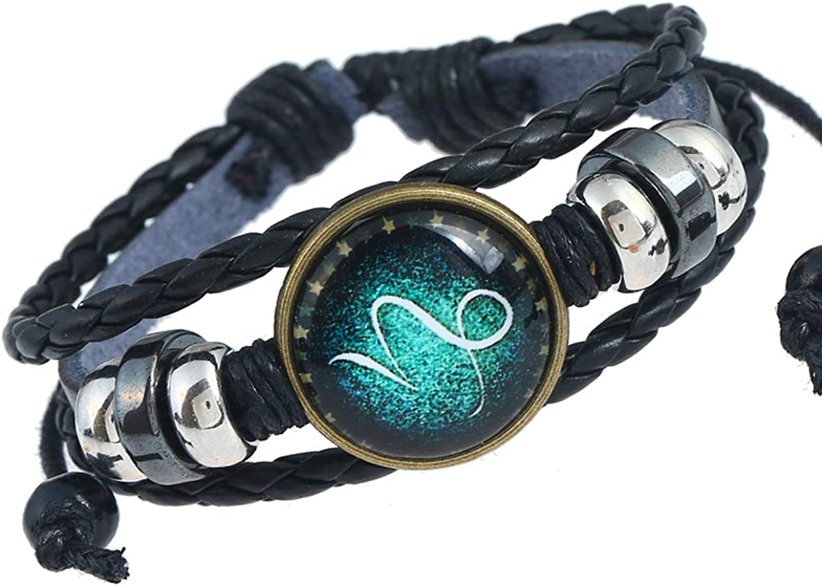 Bracelet Ajustable Tress/é Style R/étro Perl/é AIUIN Homme Bracelet en Cuir V/éritable Douze Constellations Tress/é Bracelets en Cuir pour Hommes Homme Cuir V/éritable Bracelet