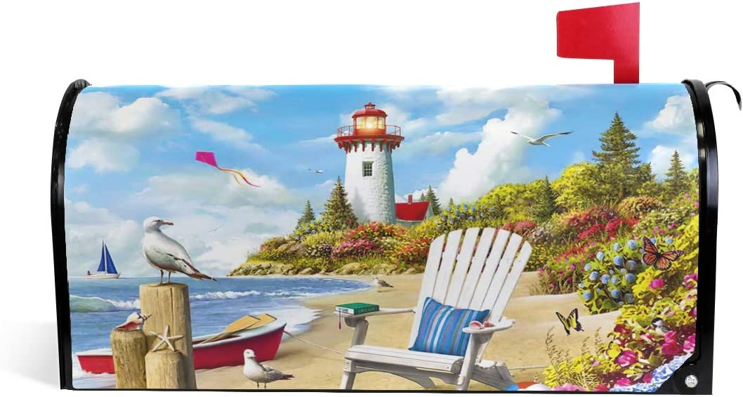 Lighthouse Beach Garden Summer Welcome Mailbox Covers Magnetic Wraps Post Box Cover Wrapped Standard Size for Outdoor Garden Yard Decor Summer 20.7x18.03 inch 2090338