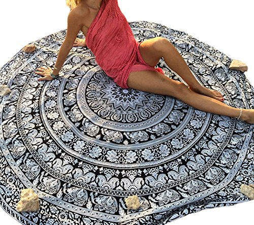 Elakaka Beautiful Round Mandala Roundie Yoga Mat