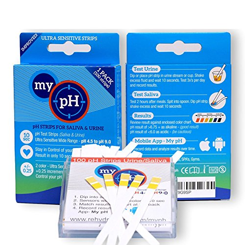 Rehydrate Pro - pH Test Kit 100ct Urine an Saliva Alkalinity Test Strips Results in 10 Sec + Free App for Recording of Results and Average Them in Charts