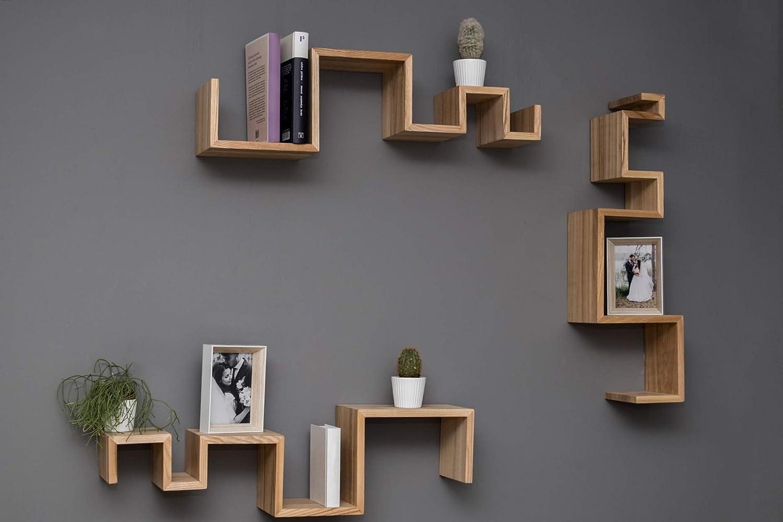 EWART WOODS Estantes colgantes de pared de madera estantes de madera geométrica estantes de madera estante flotante moderno estante hecho a mano ...