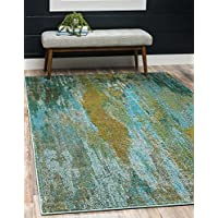 Unique Loom Estrella Collection Vibrant Abstract Turquoise Area Rug (3 x 5)