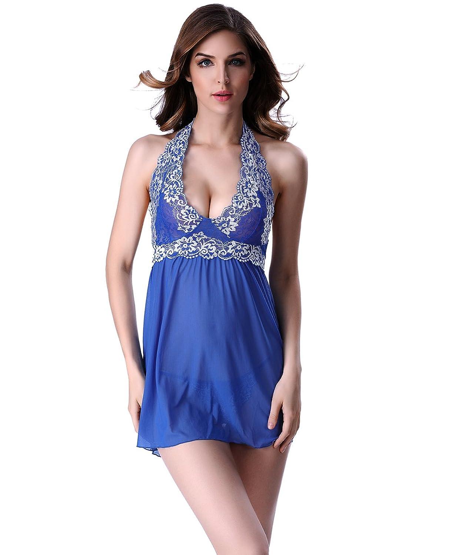 4d685483c0ae8 reizend Shmimy Baby Dolls Damen Nachtwäsche Nachtkleid Nachthemd  V-ausschnitt Negligee Mesh Spitze Dessous Reizwäsche