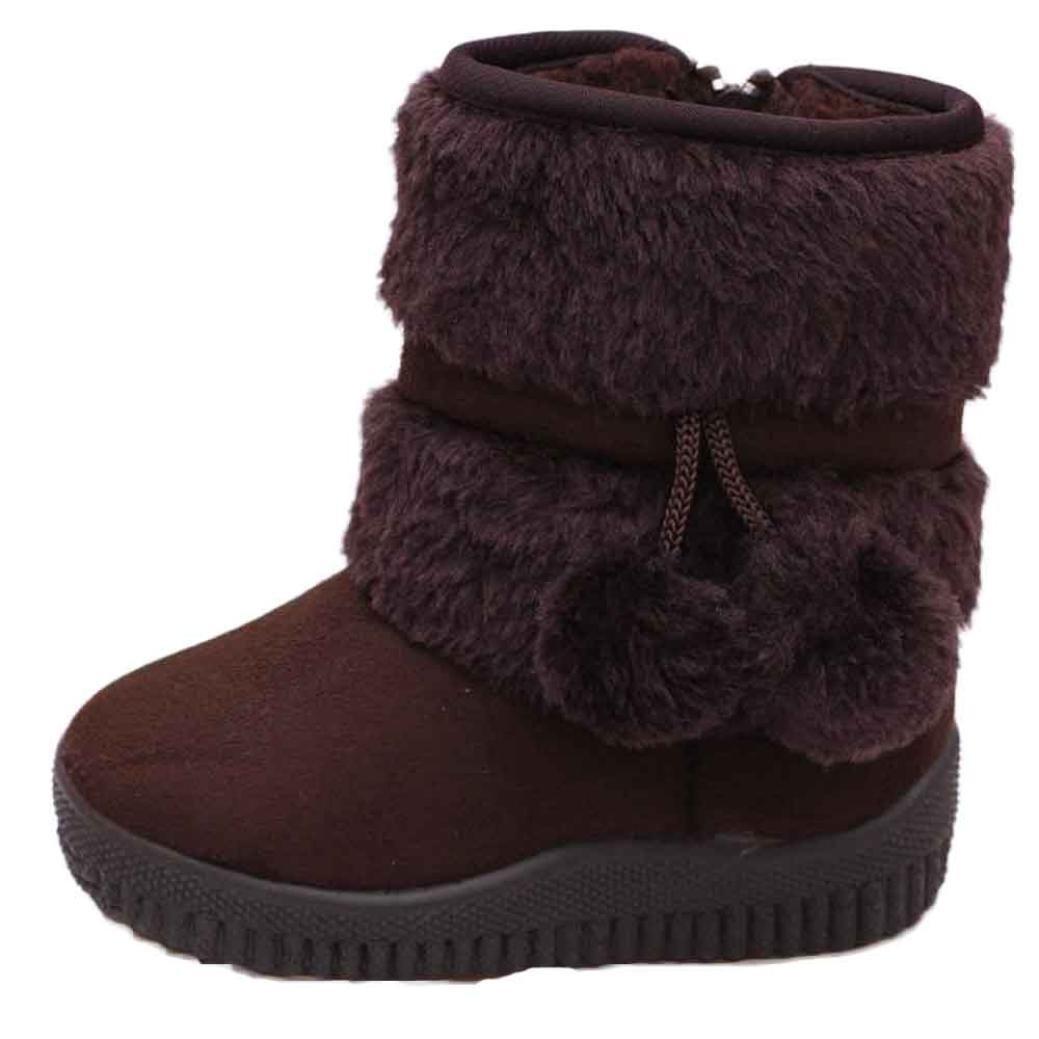 Baby Junge Mädchen Winter Schnee Stiefel mingfa Süßes Baumwolle Ball anti-rutsch Kinder Erste Walking Schuhe für 1–3Jahren Age:28-32M coffee Mingfa.y