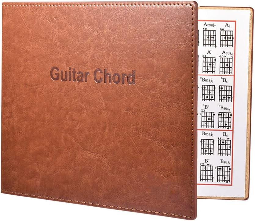 ruiruiNIE Guitar Chord Book Cuero de PU 6 Cuerdas Tablatura Guitarra Finger Ejercicio Hoja Guitar Chord Book