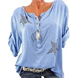 Vovtrade T Shirt Damen Bluse T Shirt Sommer Bluse V Ausschnitt Stehkragen  3 4 Ärmel 16f762dce5