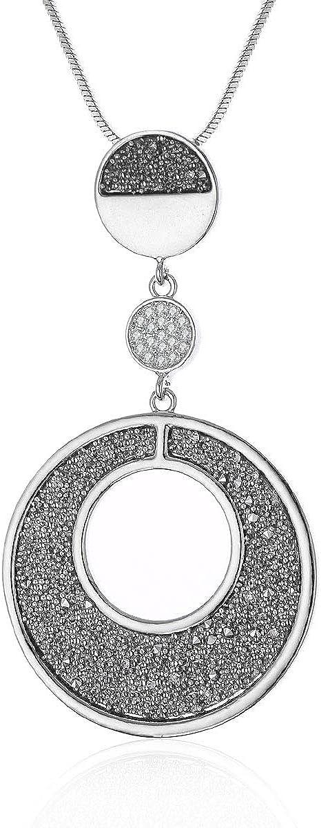 Ouran - Collar con colgante para mujer, cadena larga de oro y plata con diamante negro y cristal personalizado para mejores amigos