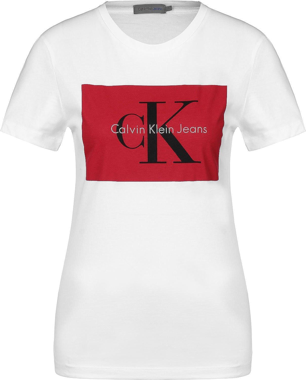 Calvin Klein Camiseta Mujer Tanya Blanca/Roja: Amazon.es: Ropa y accesorios