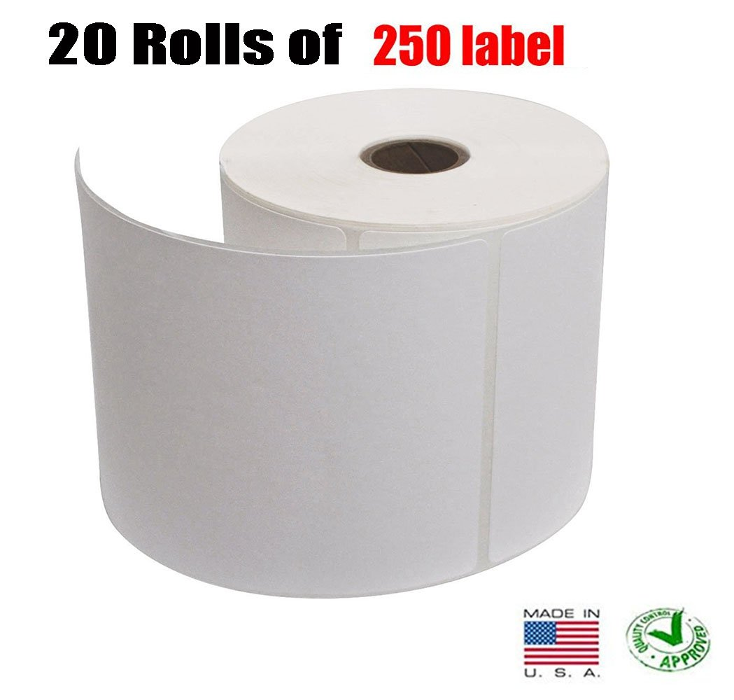 iMBAPrice 20 Rolls of 250 (USA MADE) 4x6 Direct Thermal for Zebra 2844 ZP-450 ZP-500 ZP-505 Shipping Labels Perfect Roll for 1 INCH CORE THERMAL LASER PRINTERS