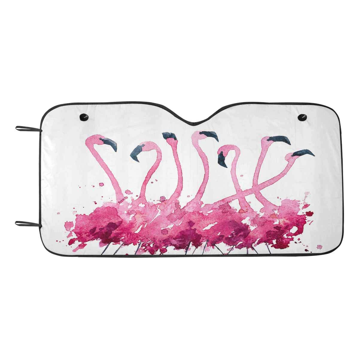 INTERESTPRINT Flamingos Watercolor Painting Auto Windshield Visor 55 x 29.53 Inches Cover Keep Vehicle Cool