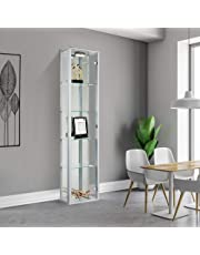 Displaysense Silver Single Door Glass Display Cabinet with Lighting - 370mm (Silver, Oak & Black available)