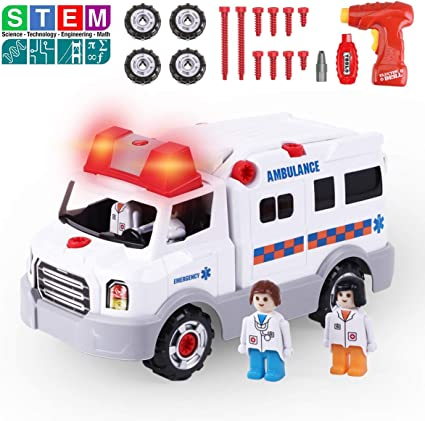 Make Your Own Car >> Remoking Stem Learning Take Apart Toy Build Your Own Car Toy Ambulance Educational Playset With Tools And Power Drill Diy Assembly Car Gifts For