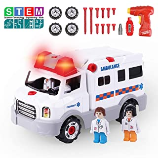 REMOKING STEM Learning Take Apart Toy, Build Your Own Car Toy Ambulance Educational Playset with Tools and Power Drill, DIY Assembly Car Gifts for Kids with Realistic Sounds & Lights (3+ Ages)