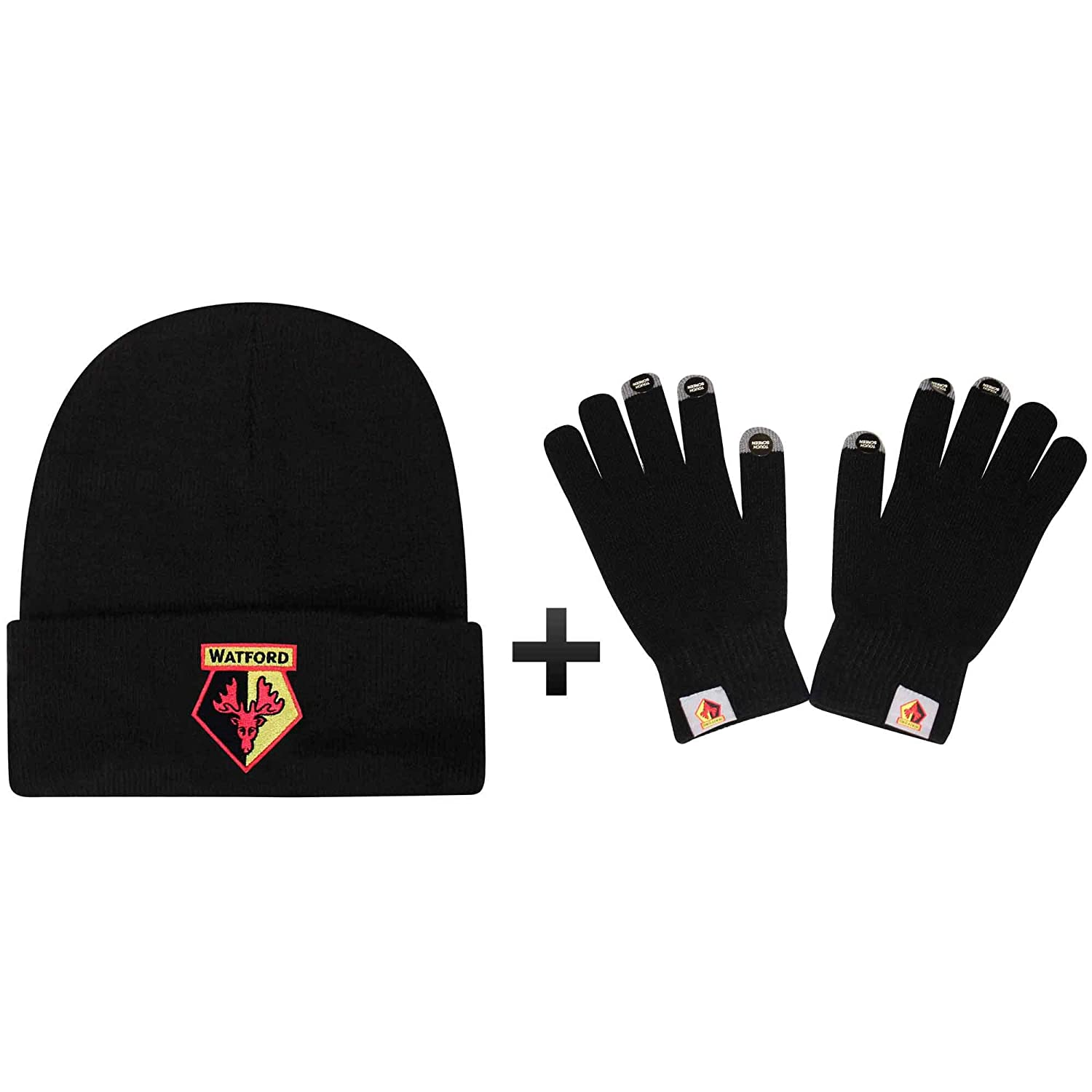 100/% Acrylic Official Watford FC Winter Warmers Gloves /& Hat Gift Set