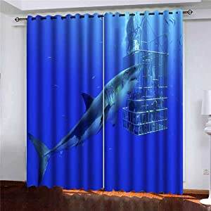 Shorping 52X84 Inch Beautiful Sheer Window Curtains Blackout Window Curtain Panel White Shark Cage Great Swims Around The Blackout Window Curtain for Bedroom, 2 Pc