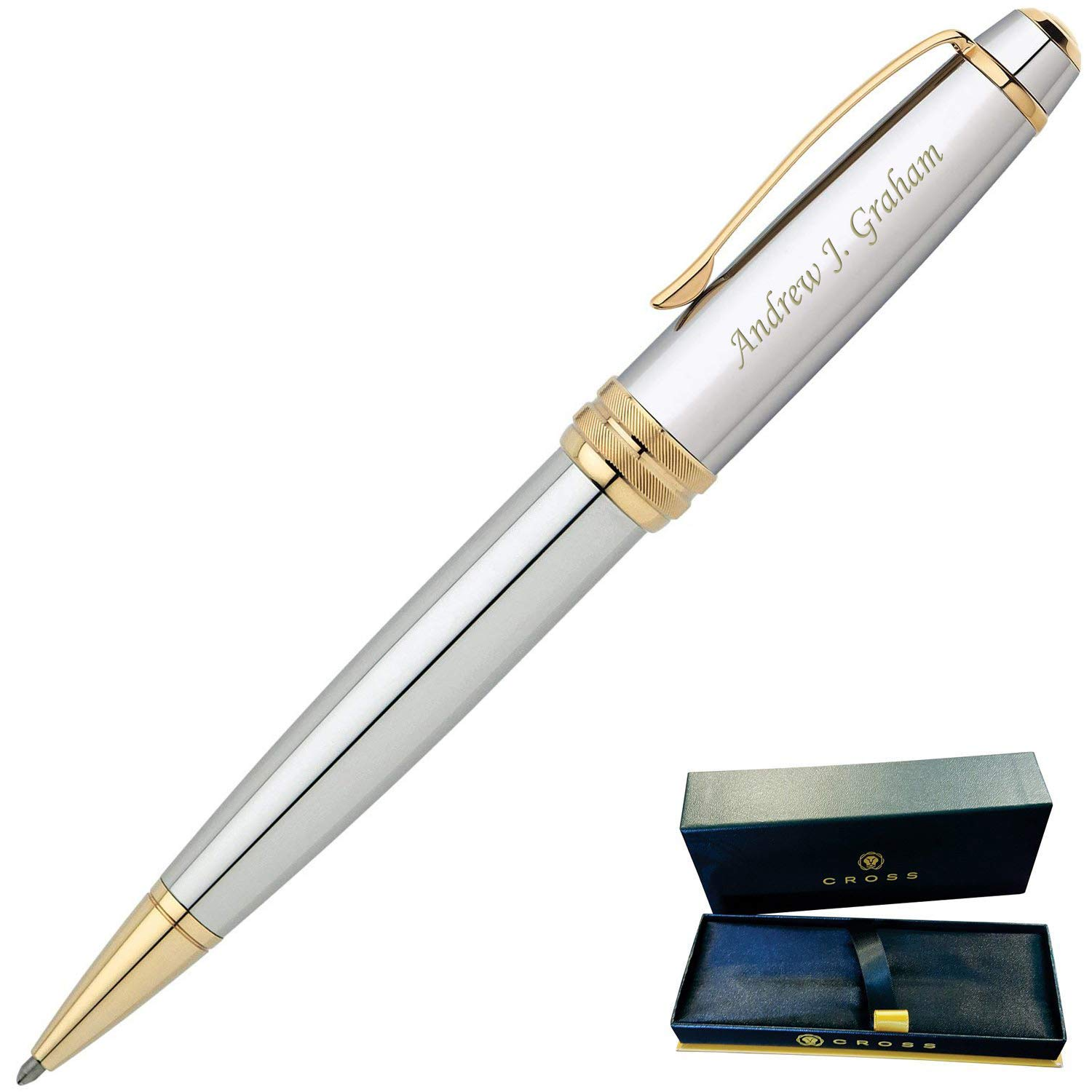 Dayspring Pens | Engraved/Personalized Cross Bailey Medalist Ballpoint Gift Pen- Chrome with Gold trim, Custom Engraved Fast!