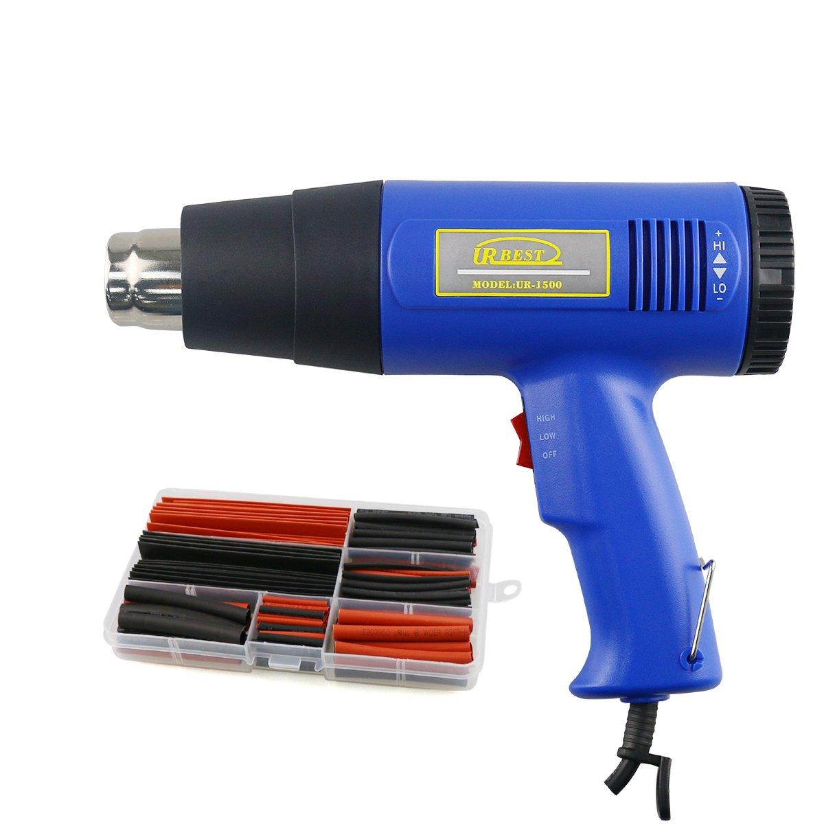 URBEST Heat Gun kit Fast Heating 1500W Hot Air Blower with 150Pcs 8 Various Heat Shrink Tubing