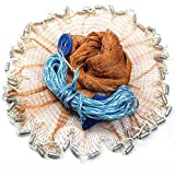 Drasry Saltwater Fishing Cast Net for Bait Trap Fish Throw Net Size 4ft/5ft/6ft/7ft/8ft/9ft Radius Freshwater Nets with Heavy Lead Sinkers (Tire Thread Cast Net(0.59 inch Mesh), 4 Feet)