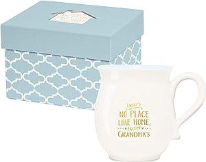 X&O Paper Goods White and Blue ''There's No Place Like Home Except Grandma's'' Porcelain Coffee Mug, 16 fl. oz.