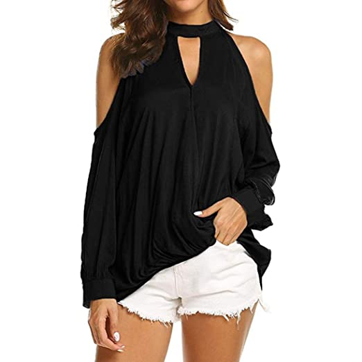 bd27db36b7db70 Forthery Women Cold Shoulder Tunic Tops Halter Long Sleeve T Shirts Blouse  Newest(Black