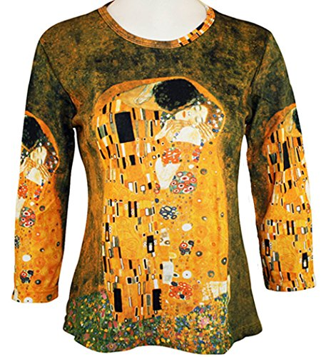 Breeke - Gustav Klimt Kiss, 3/4 Sleeve, Scoop Neck, Hand Silk Screened Art Top