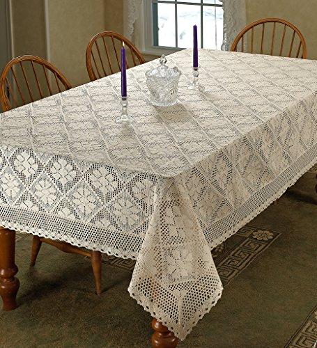 "Violet Linen Stars Crochet Vintage Lace Design Oblong/Rectangle Tablecloth, 60"" x 140"", Ivory"