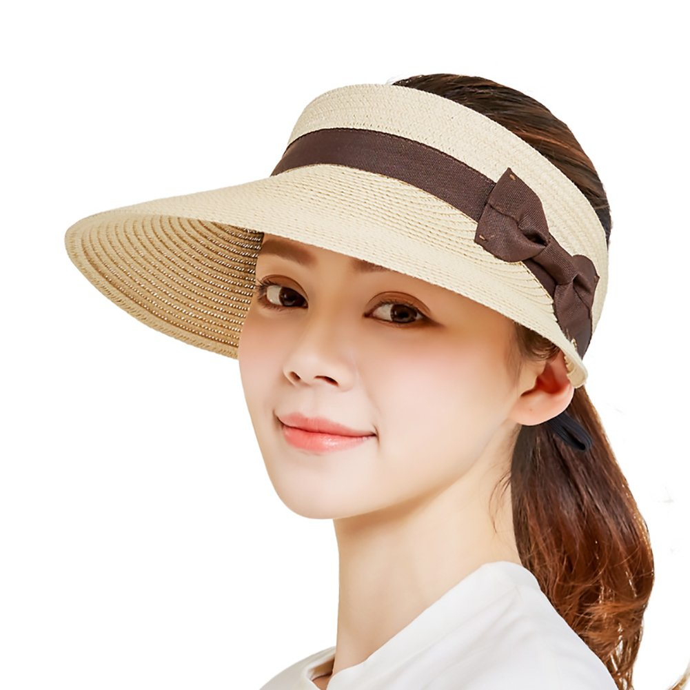 SeDi Women Beach Sun Visor Cap Foldable Roll up Wide Brim Straw Adjustable Hat