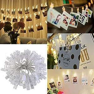 LEDMOMO 40 LED Photo Clip String Lights Christmas String Lights Indoor/Outdoor,USB Powered,String Lights for Home/Party/Christmas Decor