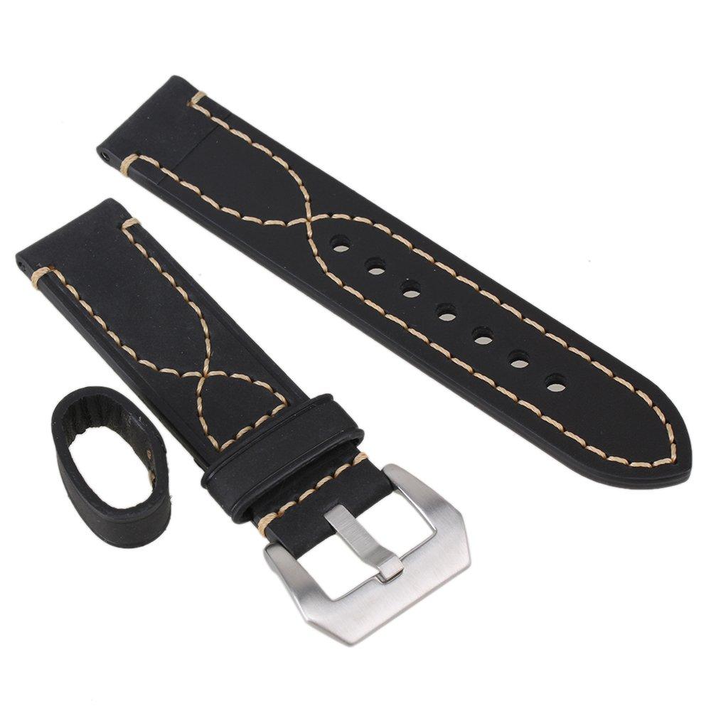 WEONE Black 22mm Width PU Leather Aviator Pilot Strap Steel Buckle Men Sport Wrist Watch Band Belt