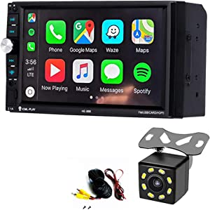 Dayo Android Auto Carplay Double Din Car Stereo Radio,Bluetooth Touch Screen Player with Backup Rear Camera