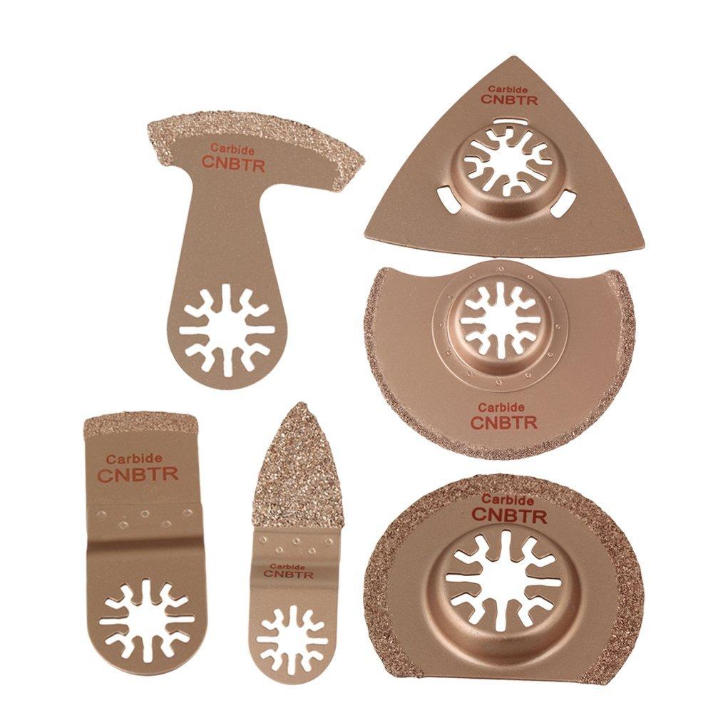 CNBTR Golden Universal Carbide Grit Oscillating Multitool Precision Saw Blades Rasp Set of 6