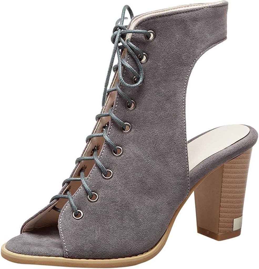 YWLINK Sandalias De Boca De Pez para Mujer Zapatos Romanos De Verano con Punta Abierta Y Cordones Talla Grande Tacones De 5 Cm De Alto Antideslizante Transpirable Zapatillas Ligeras
