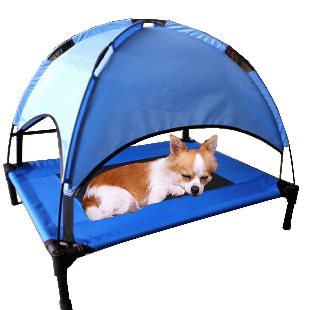 bluee M bluee M JANMO Pet Bed Dog Foldable Indoor and Outdoor Cot Tent Canopy Shelter (M, bluee)