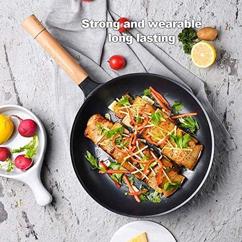 zzx Poêle à Frire Ensemble De 3 Casseroles Antiadhésives Ustensiles De Cuisine pour Casserole à Lait Wok avec Poignée en Hêtre Solide Et Robuste