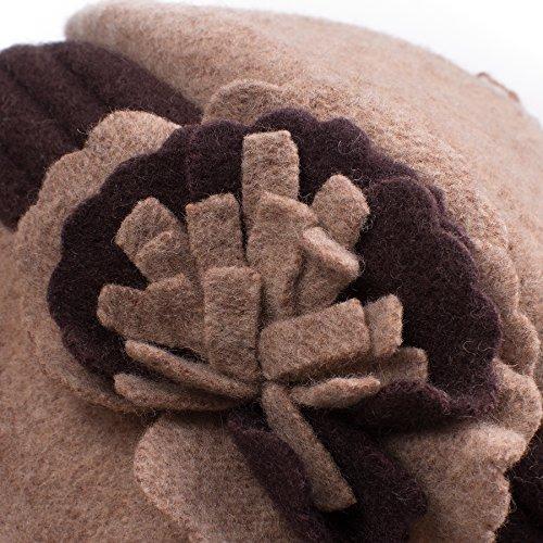 Lawliet Femmes Laine Seau Chaud Robe Bande Fleur Chapeau Casquette A217 Khaki Cloche