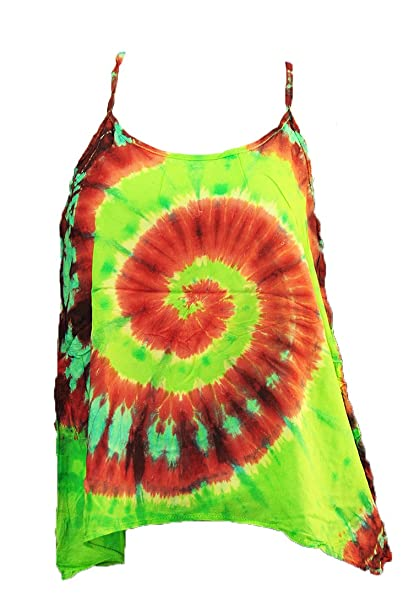 1ed696f2235cf Thai Tie Dye Tank Tops Blouse Cami Spaghetti Strap Summer Sun Razor Back  (D293)