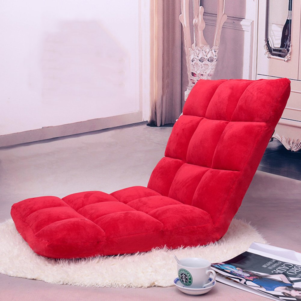 Floor chair,Tatami mats Folding sofa,Mini sofa Floating window chair Folding bed Couch-beds Backrest chair individual Perfect reading and watching tv cushion -red